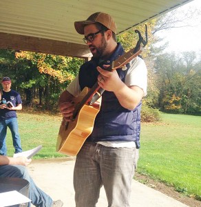 Erik Jensen leads worship at the recent GBB Fall Outpost.