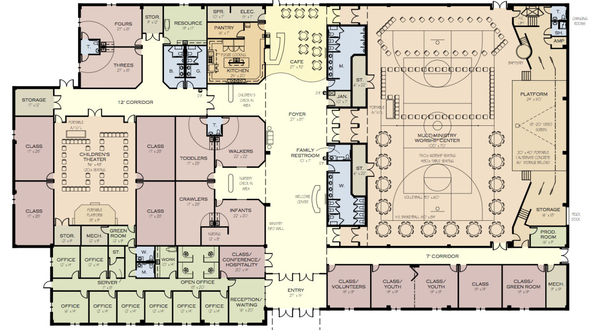 Graceconnect pickerington church readies for first for Floor plan church