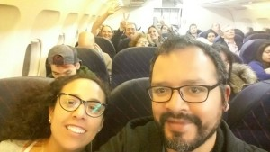 Part of the multi-national team from Latin America takes off for Ecuador.