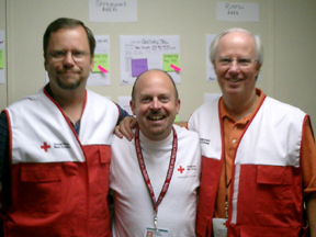 "Pennsylvania pastor Dan O'Deens (center), was the ""point man"" for early FGBC relief efforts in Shreveport, Louisiana. Other members of the Advance First Responders Team included GBIM's Dave Guiles (left) and Jay Bell (right)."