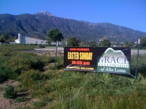 Along with many other Grace Brethren churches, the Alta Loma (CA) church, under the direction of Pastor Roy Halberg, is passing out special flyer-invitations to Easter services and is hoping to attract additional attendance with this banner sign on the corner of Wilson and Beryl streets in their community.