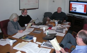From left to right are Jeanine Wine, of the archives at Manchester College; Jeff Bach, of the Young Center at Elizabethtown College, Larry Heisey, of the Brethren Heritage Center, Eric Bradley, of the Morgan Library, Grace College, (partially visible), and Ken Shaffer, Brethren Historical Archives.