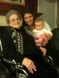 Ada Kessler, pictured Christmas, 2009, with her granddaughter, Jenny Lovette and great-granddaughter Jada.