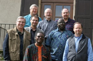 Members of the CHARIS leadership committee meeting this week in France include (front row, from left) Francois Ngoumape (Africa), David Guiles (Grace Brethren International Missions); (second row, from left) Jorge Nunez (Argentina), Florent Varak (France), Mboi Andre (Central African Republic); (back row, from left) Keith Shearer (USA), Rainer Ehmann (Germany), Terry White (Brethren Missionary Herald Co.)