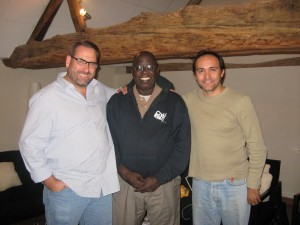 (from left) Neil Cole, Mboi Andre, and Walter Testa shared vision and enthusiasm for church planting and expansion with CHARIS leaders meeting in France.