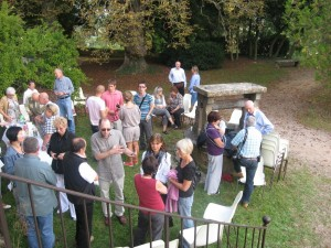 """More than 30 """"Friends of Tom Julien"""" gathered at the Chateau St. Albain Sunday afternoon to visit with Tom Julien, who, with his late wife Doris, spent many years as a missionary in France. Julien is participating in the CHARIS leadership meetings at the Chateau this week."""