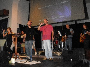 G3, the praise band at the Akron (Ohio) Ellet Grace Brethren Church, provides music for the monthly outreach, Broken.
