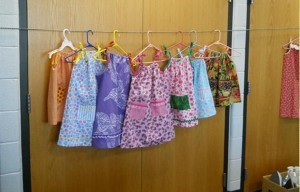 "The Columbus women hope to make 200 of these ""pillowcase dresses"" for the girls of Project Hope and Charity."