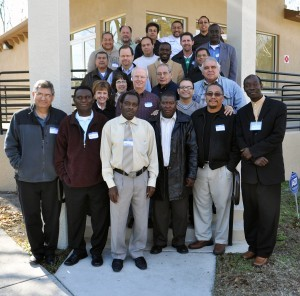 Participants in the first Grace Brethren Ethnic Leaders' Consultation, January 11-14, 2011, Tampa, Fla. -- Left to right, row 1 -- M. Guerena, H. Joseph, O. Joseph, D. Cardichon, A. Betoney, C. Casimyr; row 2, J. & J. Bell, G. Leiton; row 3, S. Guiles, P. Guerena, R. Soto; row 4, D. Guiles; row 5, C. Valenzuela, D. Nonhomme, J. Munoz; row 6, J. Marquez, J. Forero, B. Baughman, P. Davids; row 7, C. O'Dell, J. Molina, S. Joyce, S. Diaz.