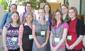 Grace College students presented at the Alpha Chi honor society's national convention in San Diego, Calif., in late March. Pictured, from left to right are, (front row) Alysha Mroczka, Emily Metcalf, Julene Holladay, Jennifer Benner, and Katherine Aardsma; (back row) Margaret Gullman, Abigail Dutcher, Melissa Witwer, and Sarah Rice.
