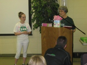 Katie Yocum (left) received a special award for her years of involvement in the SMM program.