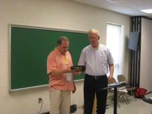 Don Shoemaker (left) was presented the award by Dr. John Teevan.