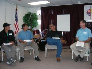 Arnold Betoney (second from right), pastor of Native New Life Church, shares about his ministry among the Indians in Albuquerque, NM