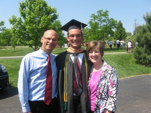 Dan and Holly Allan pause with their son, Jonathan, who was awarded a Bachelor of Arts in Business Administration and Marketing. Dan Allan is pastor of the Grace Brethren Church of Ashland, Ohio.