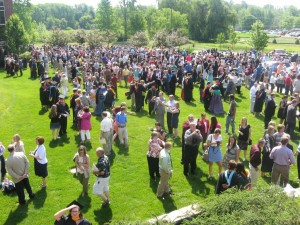 Graduates, parents, professors, and friends flooded the lawn of the Orthopaedic Capital Center for picture-taking and one last good-bye following commencement exercises this Saturday morning at Grace College & Seminary, Winona Lake, Indiana.