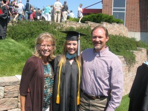 David and Julie Lawson pose with their daughter, Stephanie, who was awarded a Bachelor of Science degree in Elementary Education. David Lawson is administrative pastor at the Grace Brethren Church of Wooster, Ohio.