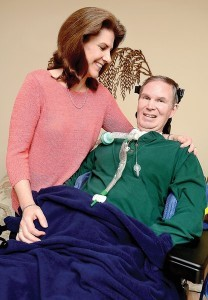David Muritz of Hagerstown, Md., was diagnosed in 2007 with ALS. His wife, Marsha, is his caregiver. David Murtiz is unable to walk or talk, and is on a ventilator. He also has a computer that speaks for him. (Photo by Joe Crocetta/Staff Photographer / October 26, 2012)