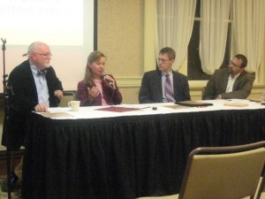 Panelists in the first Heritage Forum included (from left) Mark Norris, Christy Hill, Steven Nolt, and Jared Burkholder.