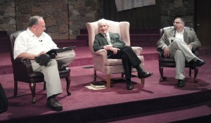 Dr. Robert Culver was interviewed by Dr. Terry White, left, and Dr. Jared Burkholder on Sunday evening at Winona Lake (Ind.) Grace Brethren Church.