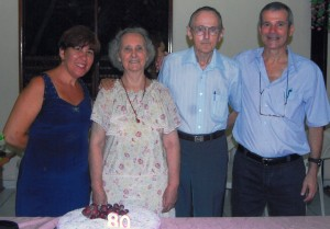 Imogene and Bill Burk celebrate Imogene's birthday with Marcos Freitas, right, and his wife, Selma, left.
