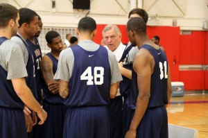 Grace College men's basketball coach Jim Kessler talks with players at the USA Basketball Training Camp in Colorado Springs. Kessler was invited to serve as a court coach at the camp for the World University Games (Photo courtesy of USA Basketball)