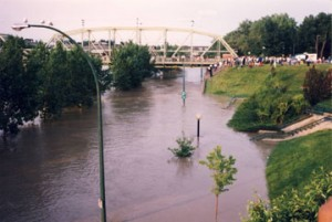 River Road is flooded in this photo from the 1995 flood in Medicine Hat. City officials are warning citizens flood levels may reach the same level in the next couple of days.