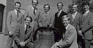 Knute Larson pastored the church from 1968 until the early 1980s. Here he is with his staff in the 1970s:  Left to right – Gary Taylor, Knute Larson, Warren Jones, Chris Hayes, Howard Vulgamore, John Teeven, Doug Denbow, and Jim Currie.
