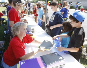 The Grace Brethren Church in Osceola, Ind. (Greg Serafino, pastor) distributed school supplies during the Back to School Bash on Saturday, August 4.