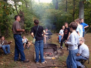 Unit 6 Ashland (Ohio) Southview boys gather for devotions at the recent Fall Outpost near Perrysville, Ohio.