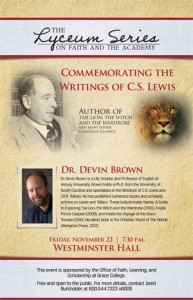 Dr. Devin Brown will speak on C.S. Lewis at the upcoming Lyceum Series Lecture at Grace College.