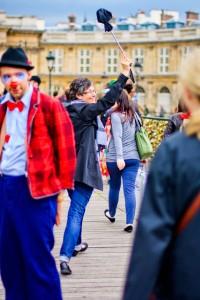 Grace College Associate Dean and Professor Jacqueline Schram leads the way as students tour Paris.