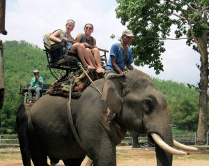 Grace students take in a different form of transportation in Thailand.