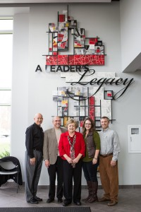 "Grace College & Seminary honors former president Manahan with ""A Leader's Legacy"" Mosaic at the Manahan Orthopaedic Capital Center.  Pictured (from left to right): Grace College & Seminary President, Bill Katip, former Grace College & Seminary President, Ron Manahan, Barbara Manahan, Christi Ziebarth, and Tim Ziebarth."