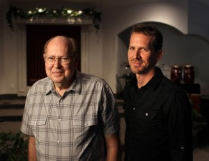 "Pastor Jim Poyner, left, will pass the reins of the church he ""planted"" to son Paul Poyner."