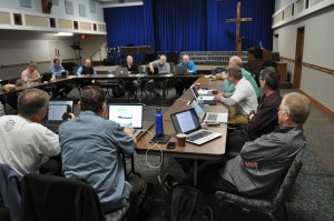 Leaders of the Fellowship of Grace Brethren Churches meet at Grace Community Church, Seal Beach, Calif. (Steve Williams, pastor).