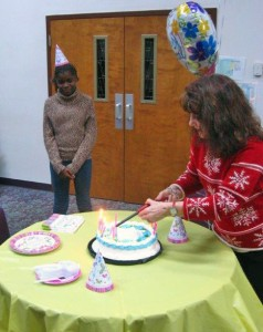 Ladies from the Winona Lake, Ind., Grace Brethren Church helped Melissa Ngoumape, from the Central African Republic, celebrate her 12th birthday today.