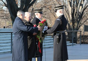 Chaplains, from left, retired Air Force Brig. Gen. David H. Cyr, and retired Army Col. John Schumacher, Sentinel, and Sergeant of the Guard place a wreath at theTomb of the Unknowns last month. ADELLE M. BANKS/RELIGION NEWS SERVICE