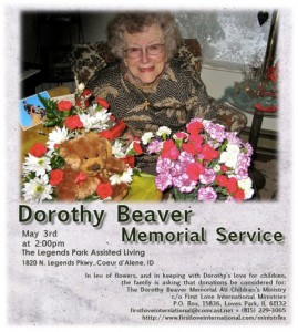 Mom Beaver Memorial Announcement 2