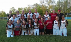 The Grace College softball team celebrates its 2014 NCCAA Midwest Region championship on Tuesday, May 6.