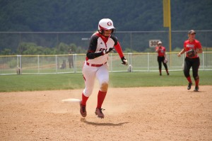 Pictured is junior All-American Brooke Shell stealing a base at NCCAA Nationals. (Grace Athletics Photo)