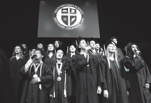"The Grace Brethren High School senior class ensemble sings ""This is the Day"" at the commencement ceremony on May 30. IRIS SMOOT/Acorn Newspapers"