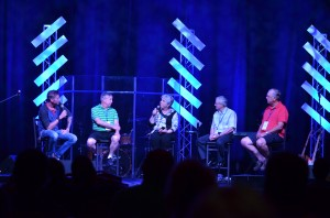 A panel of individuals who have attended past conferences shared some memories. On the panel were, left to right, Jeremy Byng, moderator; Pastor Bud Olszewski, Rittman, Ohio; Liz Cutler Gates, GraceConnect/BMH Books; Pastor Bob Combs, Norton, Ohio; and John McIntosh, Simi Valley, Calif.