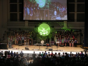 The Operation Barnabas student choir performs during the Thursday evening session at Momentum.
