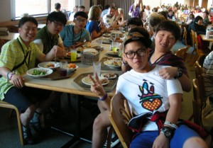 Members of the Yandong Jeil Church in Mokpo, South Korea enjoy lunch in the cafeteria at Momentum on Wednesday.