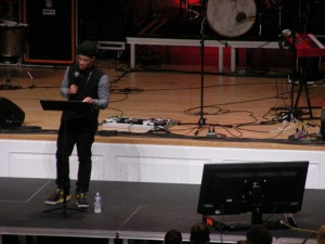 Rapper Tripp Lee talks about the difference between works and faith in Jesus at Wednesday's evening session.