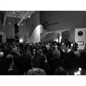 Gateway Church hosted a candlelight vigil Friday night to help their community heal from two tragic incidents. (Scott Feather photo)