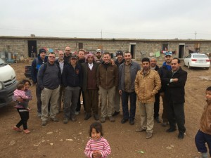 "Pastor Jim Brown and the team from Goshen. Says Jim, ""To my right is Pastor Malath and to my left is a Yazidi man who greeted me with a kiss on both cheeks because he knew that this group of Americans were caring for his people."""