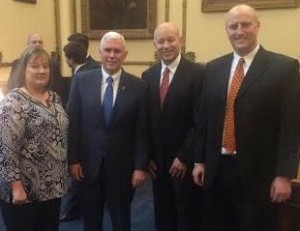 Pictured from left: Monica Boyer, Gov. Mike Pence, Dr. Bill Katip, Grace College, and Dr. Gregg Chenoweth, Bethel College.