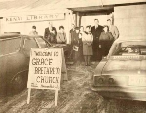 After months without a pulpit, Reverend Herman H. Hein, Jr. opened the Kenai Grace Brethren Church on January 4, 1970. Fifteen people met for morning worship in the Kenai Library.