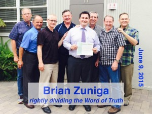 The pastors of the Southern California-Arizona District of Grace Brethren Churches congratulation Brian Zuniga on completing his ordination exam.
